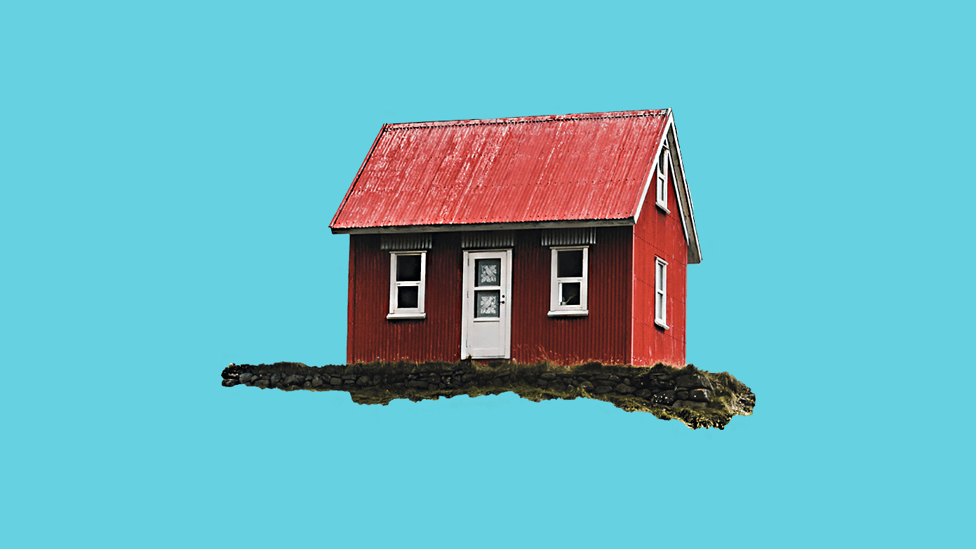 Red house alone on a blue background